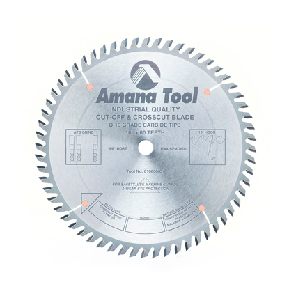 Picture of 610600 Carbide Tipped Cut-Off and Crosscut 10 Inch Dia x 60T ATB, 10 Deg, 5/8 Bore